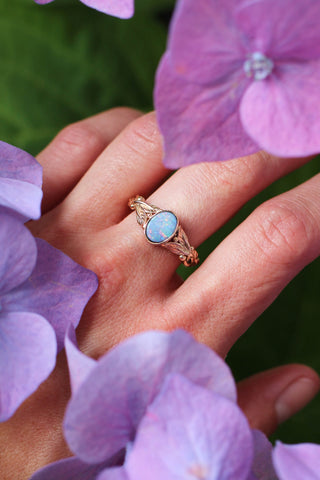 Blue opal engagement ring, leaves band / Cornus oval cab - Eden Garden Jewelry