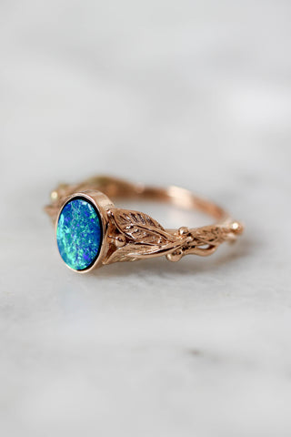 Vivid blue green opal engagement ring / Cornus