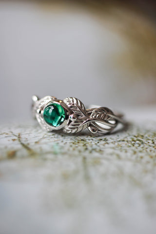 Lab emerald engagement ring / Cornus, round cabochon - Eden Garden Jewelry™