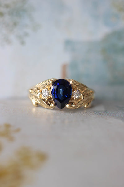 Lab sapphire and natural diamonds ring / Wisteria - Eden Garden Jewelry