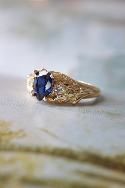 Lab sapphire and natural diamonds ring / Wisteria - Eden Garden Jewelry™