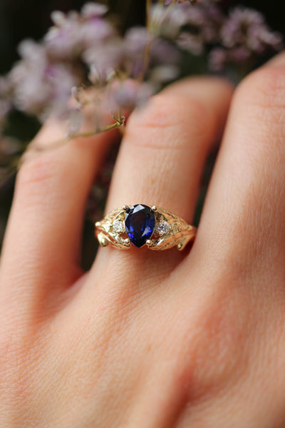 Sapphire and diamonds engagement ring / Wisteria - Eden Garden Jewelry™