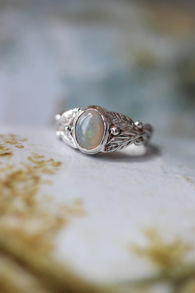 Colourful opal engagement ring / Cornus oval cab - Eden Garden Jewelry