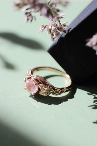 Rose quartz romantic engagement ring / Azalea - Eden Garden Jewelry™