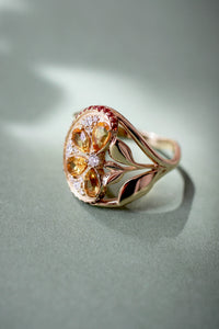 Orange slice ring with citrine, diamonds and sapphires - Eden Garden Jewelry