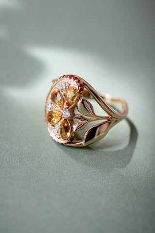 Orange slice ring with citrine, diamonds and sapphires - Eden Garden Jewelry™