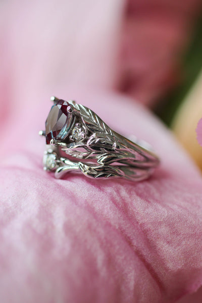 Diamond and leaves wedding band, matching ring for Wisteria - Eden Garden Jewelry™