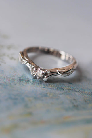 Diamond and leaves wedding band, matching ring for Wisteria