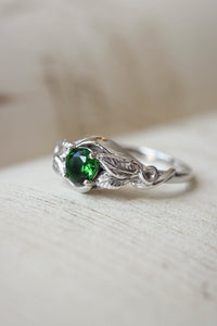 Lab emerald engagement ring / Azalea - Eden Garden Jewelry™