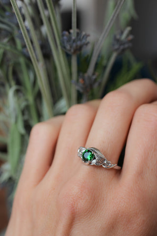 Custom request: 6 mm lab emerald engagement ring / Azalea - Eden Garden Jewelry