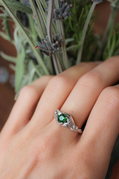 Lab emerald engagement ring / Azalea - Eden Garden Jewelry
