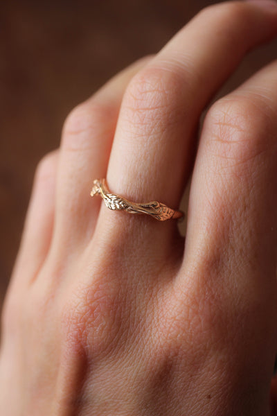 Curved twig ring, matching wedding band for our leaves rings - Eden Garden Jewelry