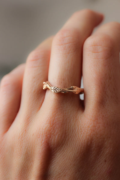 Curved twig ring, matching wedding band for our leaves rings - Eden Garden Jewelry™