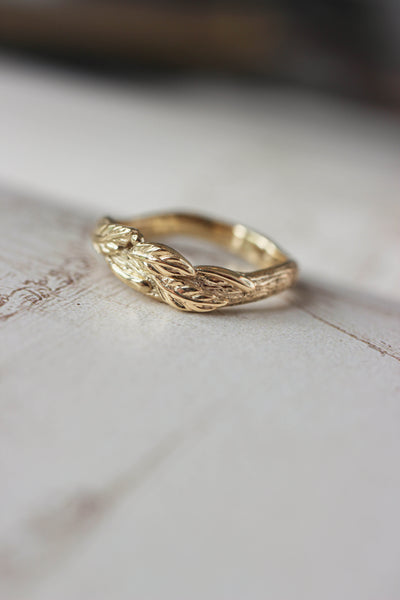 Tree branch wedding band for man, unisex gold ring - Eden Garden Jewelry™