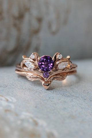Bridal ring set with amethyst / Swanlake - Eden Garden Jewelry