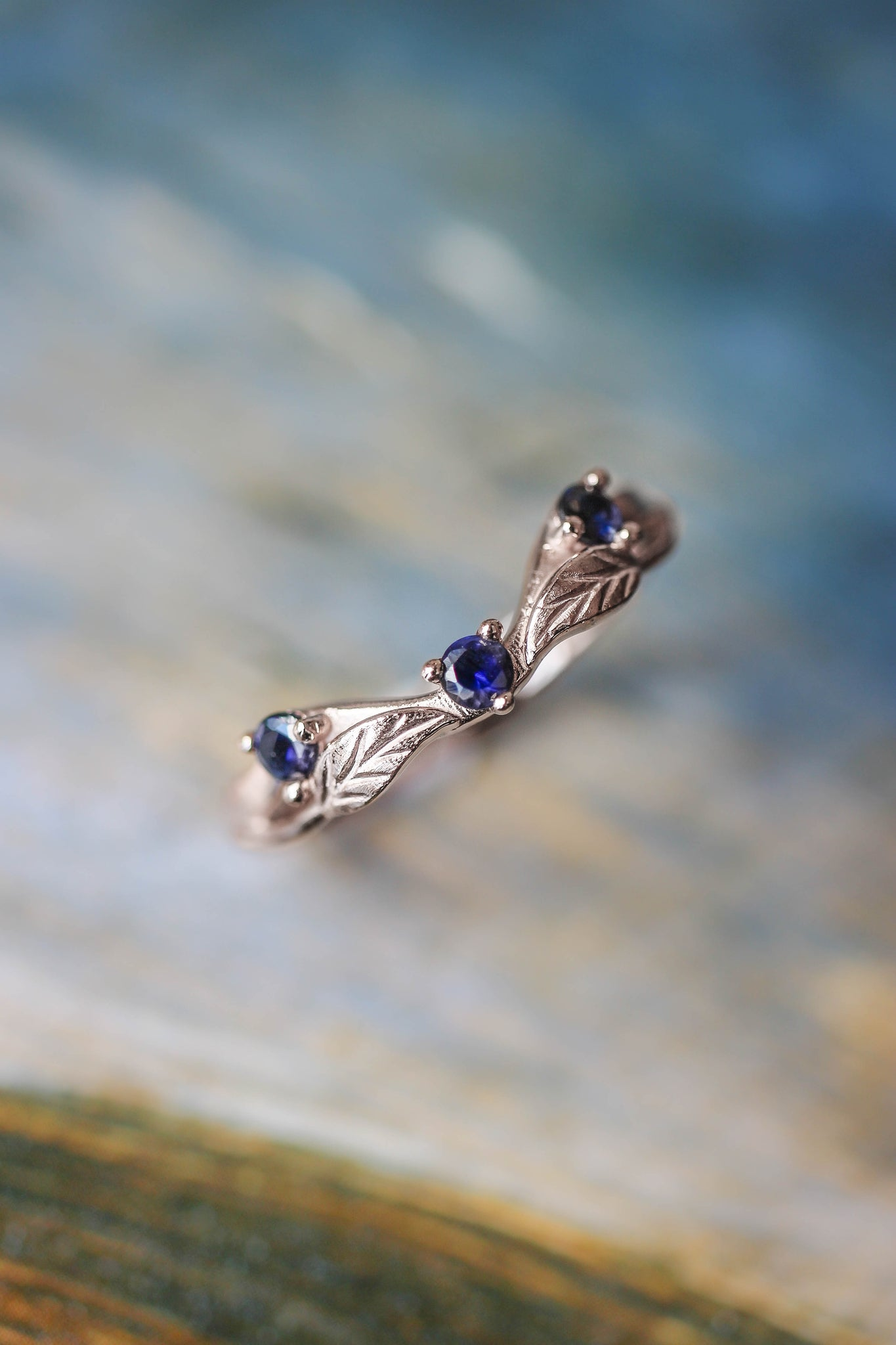 Curved wedding band with lab sapphires - Eden Garden Jewelry