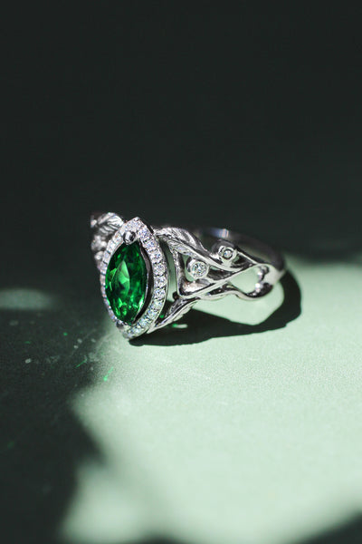 Marquise engagement ring with lab emerald and diamond halo / Callisto - Eden Garden Jewelry™