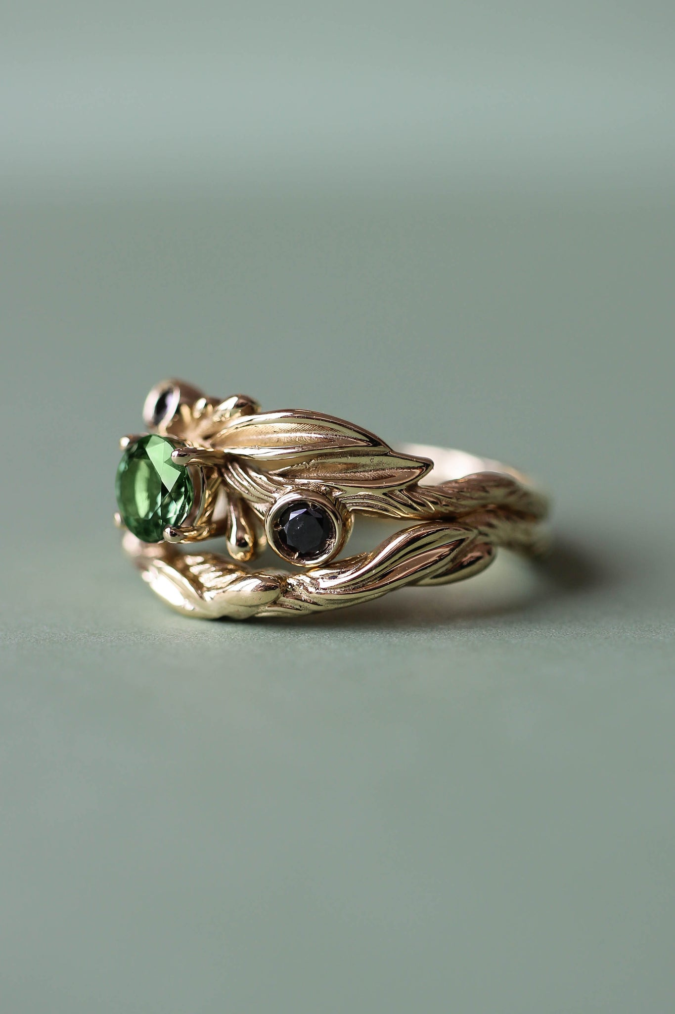 Bridal ring set with green tourmaline and black diamonds / Olivia - Eden Garden Jewelry