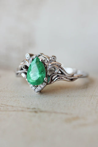 Natural emerald and diamonds engagement ring / Lida - Eden Garden Jewelry