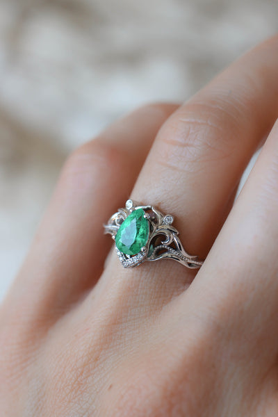 Natural emerald and diamonds engagement ring / Lida - Eden Garden Jewelry™