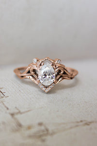 Pear cut moissanite engagement ring / Lida - Eden Garden Jewelry