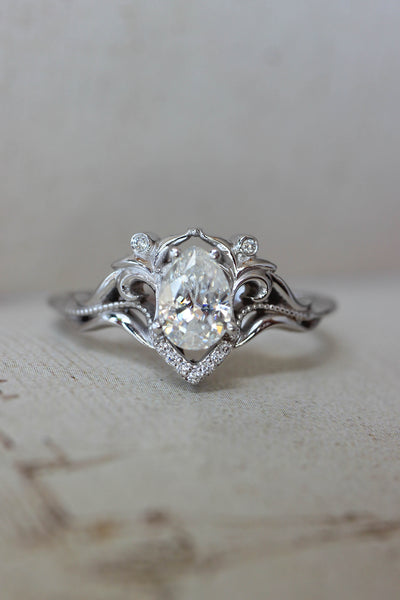 Moissanite and diamonds engagement ring / Lida - Eden Garden Jewelry