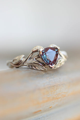 Branch engagement ring with alexandrite, nature inspired engagement ring