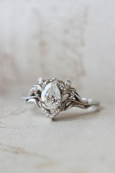 Moissanite and diamonds engagement ring / Lida - Eden Garden Jewelry™