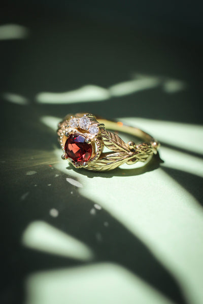 Garnet heart and diamonds engagement ring, Claddagh ring - Eden Garden Jewelry™