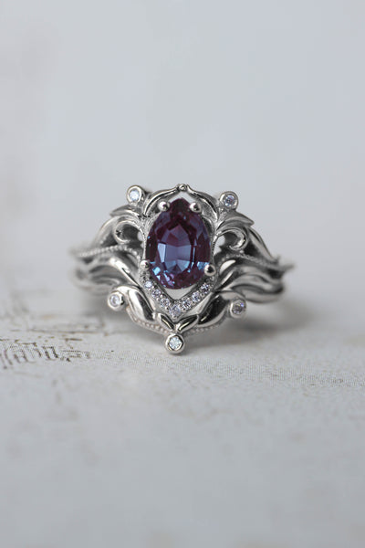 Alexandrite engagement ring, diamond wedding band set / Lida - Eden Garden Jewelry™