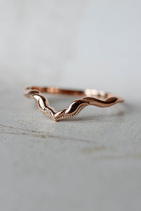 Alternative chevron wedding ring, matching band for Lida - Eden Garden Jewelry