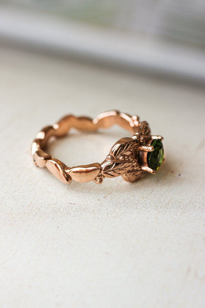 Green tourmaline engagement ring, leaves and grains ring - Eden Garden Jewelry™