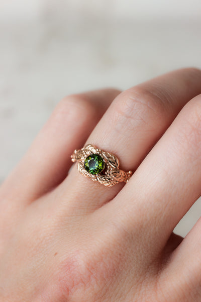 Green tourmaline engagement ring, leaves and grains ring - Eden Garden Jewelry