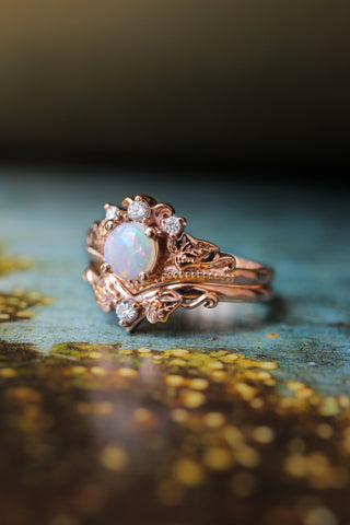 Bridal ring set with opal and diamonds / Ariadne - Eden Garden Jewelry™