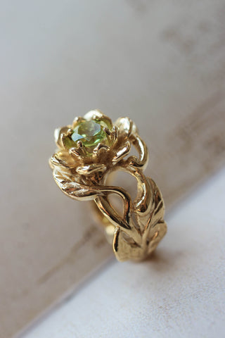 Peridot flower engagement ring / Rosalia - Eden Garden Jewelry