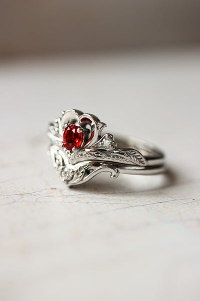 Bridal ring set with red sapphire / Amura - Eden Garden Jewelry™