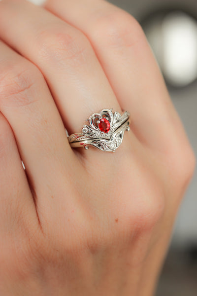 Bridal ring set with red sapphire / Amura - Eden Garden Jewelry