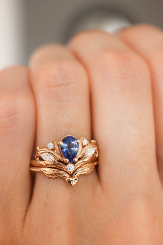Bridal ring set with pear cut sapphire / Swanlake - Eden Garden Jewelry™
