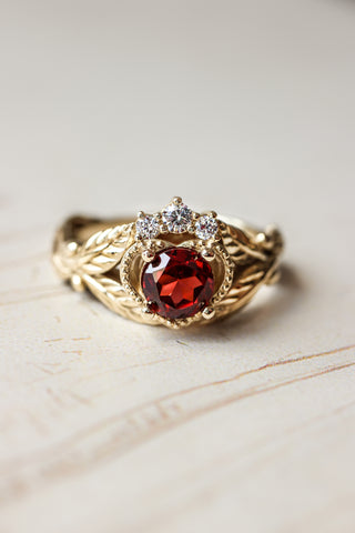 Garnet heart and diamonds engagement ring, Claddagh ring