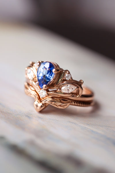 Bridal ring set with pear cut sapphire / Swanlake - Eden Garden Jewelry