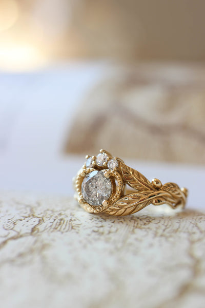 Salt and pepper diamond engagement ring, alternative Claddagh ring - Eden Garden Jewelry