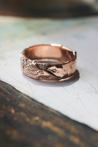 Nature wedding bands set: wide ring for him, rose flower ring for her - Eden Garden Jewelry