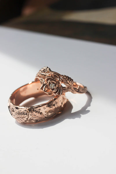 Nature wedding bands set: wide ring for him, rose flower ring for her - Eden Garden Jewelry™