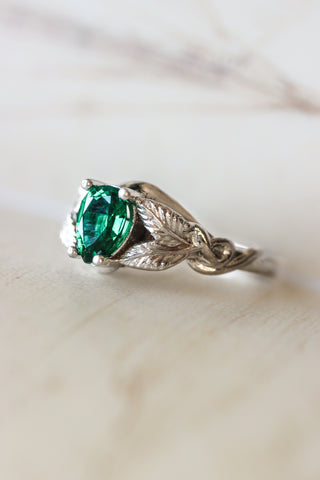 Pear cut lab emerald engagement ring / Azalea - Eden Garden Jewelry™