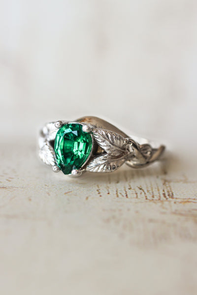 Pear cut lab emerald engagement ring / Azalea - Eden Garden Jewelry