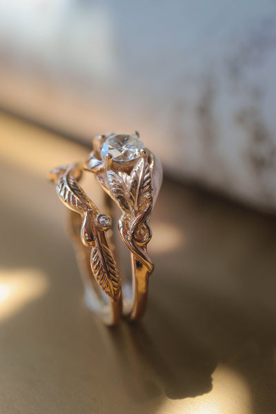 Twig wedding ring with diamonds or moissanites, matching for Azalea - Eden Garden Jewelry