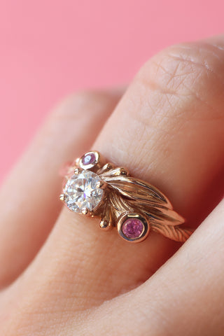 Olive branch ring with moissanite and pink sapphires / Olivia - Eden Garden Jewelry
