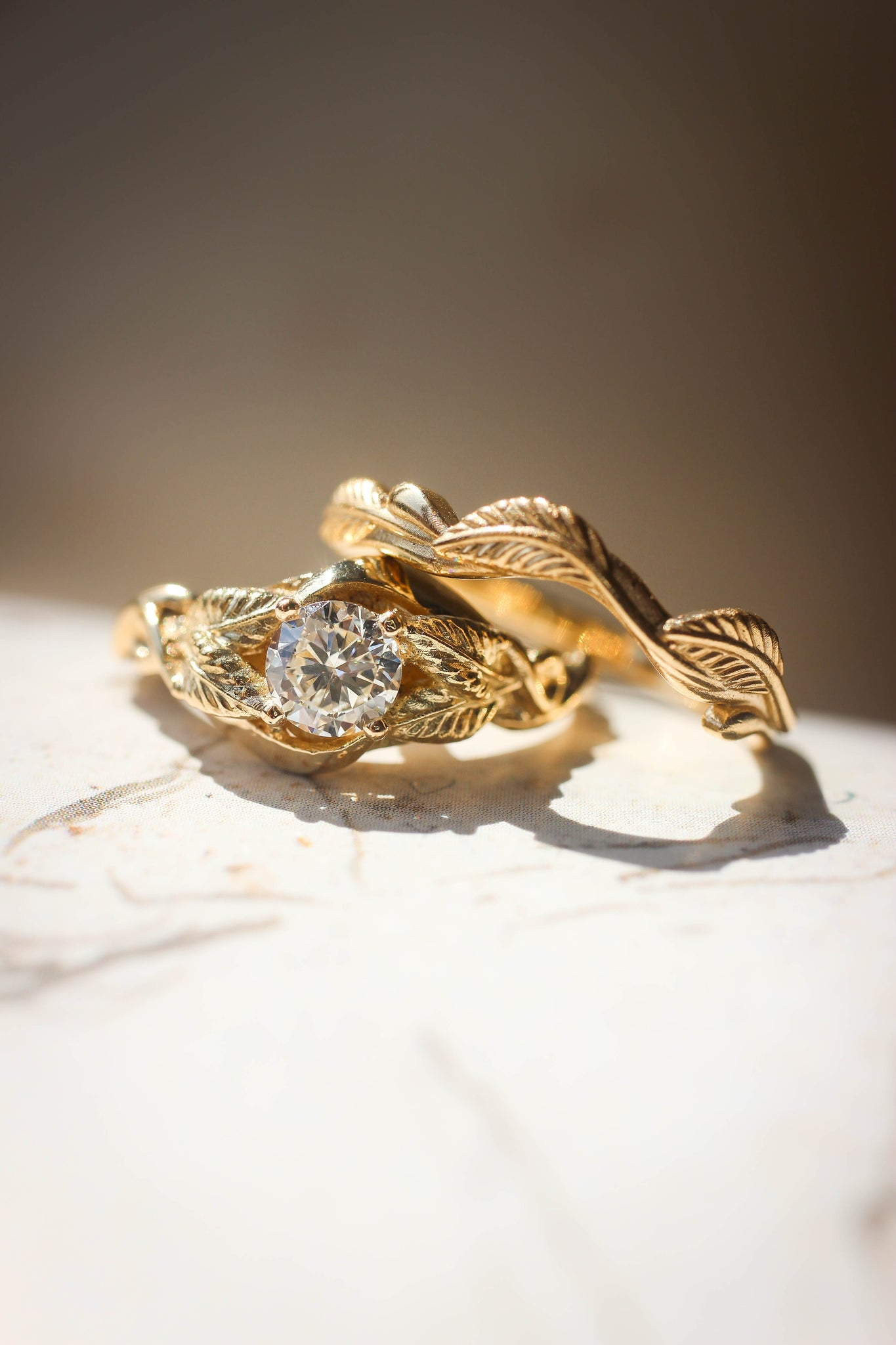 Bridal ring set, moissanite or diamond ring with twig band / Azalea - Eden Garden Jewelry