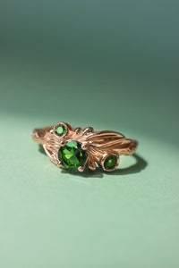 Olive branch ring with green tourmalines / Olivia - Eden Garden Jewelry™