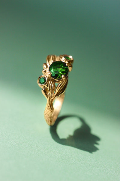 Olive branch ring with green tourmalines / Olivia - Eden Garden Jewelry